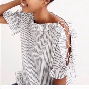 Madewell striped ruffle lace up sleeve top Sz s